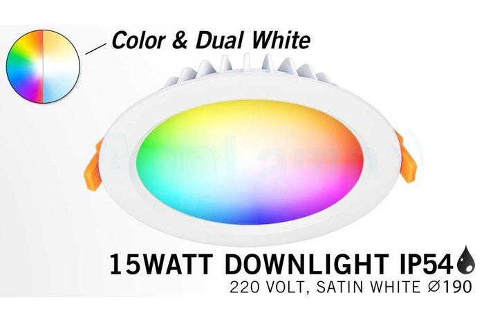 RGB kleur + Dual White 15 Watt LED Waterproof inbouwspot, Losse spot zonder remote.