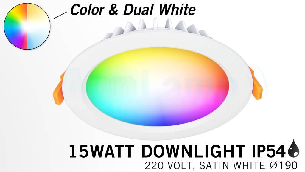 Mi·Light RGB kleur + Dual White 15 Watt Mi-Light LED Waterproof inbouwspot, Losse spot zonder remote.