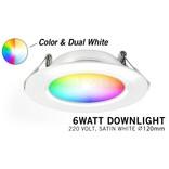 Mi·Light Mi-Light 6W Dimbaar RGBWW Kleur + Dual White LED Inbouwspot 220V. Satijn Wit Ø120mm