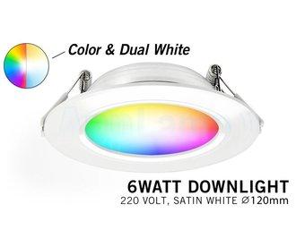 RGB kleur + Dual White 6 Watt LED 220Volt inbouwspots, Losse spot zonder remote.