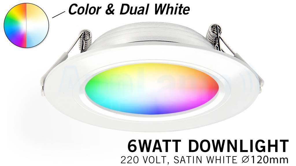 Mi·Light RGB kleur + Dual White 6 Watt LED 220Volt inbouwspots, Losse spot zonde