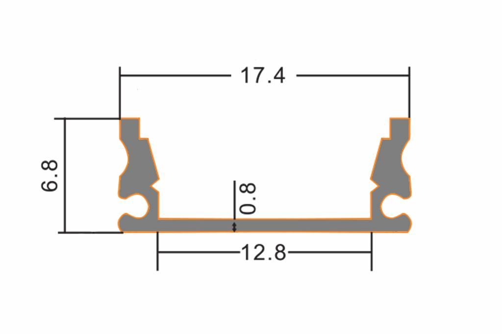 AppLamp Aluminium LED strip profiel 2 meter doorlopend, incl. melk cover en caps