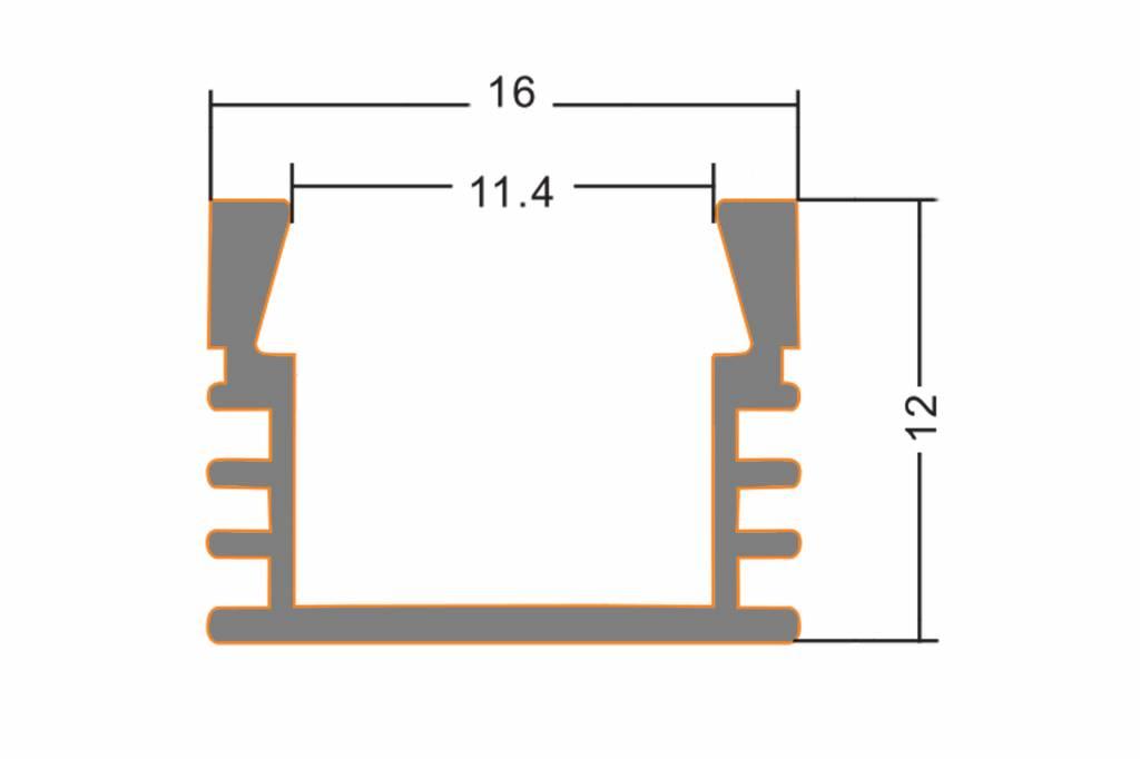 LED strip profiel 2 meter, type 1612 incl. mist cover