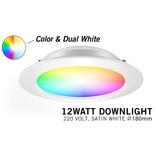 Mi·Light RGB kleur + Dual White 12 Watt 220Volt LED inbouwspot, Losse spot zonder remote.