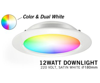 Mi·Light Mi-Light 9W RGBWW Kleur + Dual White LED Inbouwspot 220V. Satijn Wit