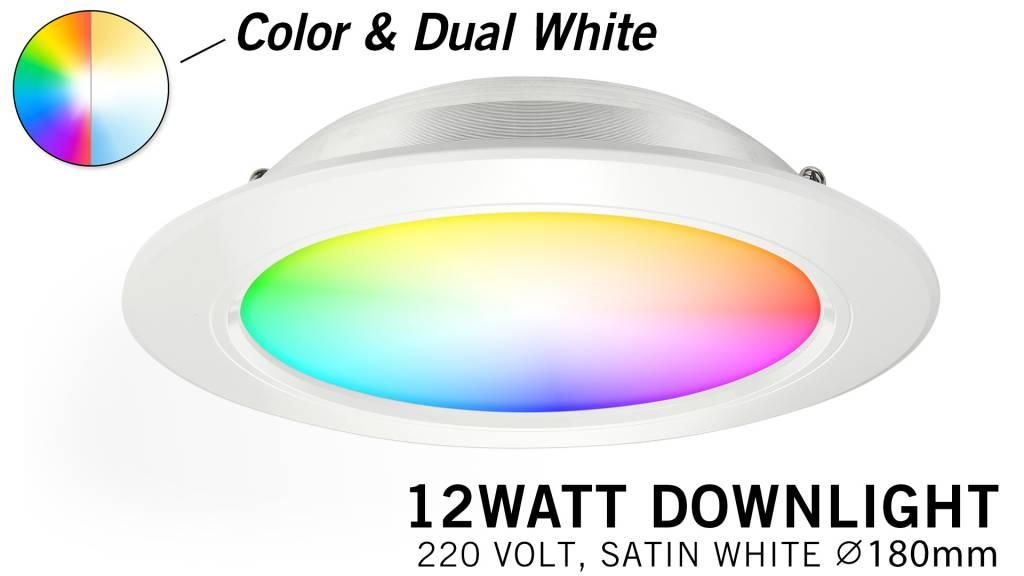 Mi·Light RGB kleur + Dual White 12 Watt 220Volt LED inbouwspot, Losse spot zonde