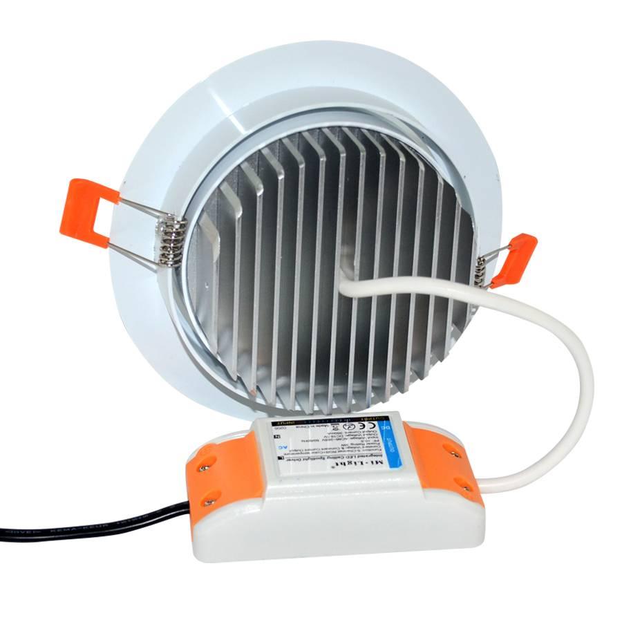 Mi·Light Mi-Light 9W Dimbaar RGBWW Kleur + Dual White LED Inbouwspot 220V. 30° Kantelbaar. Wit Ø135mm