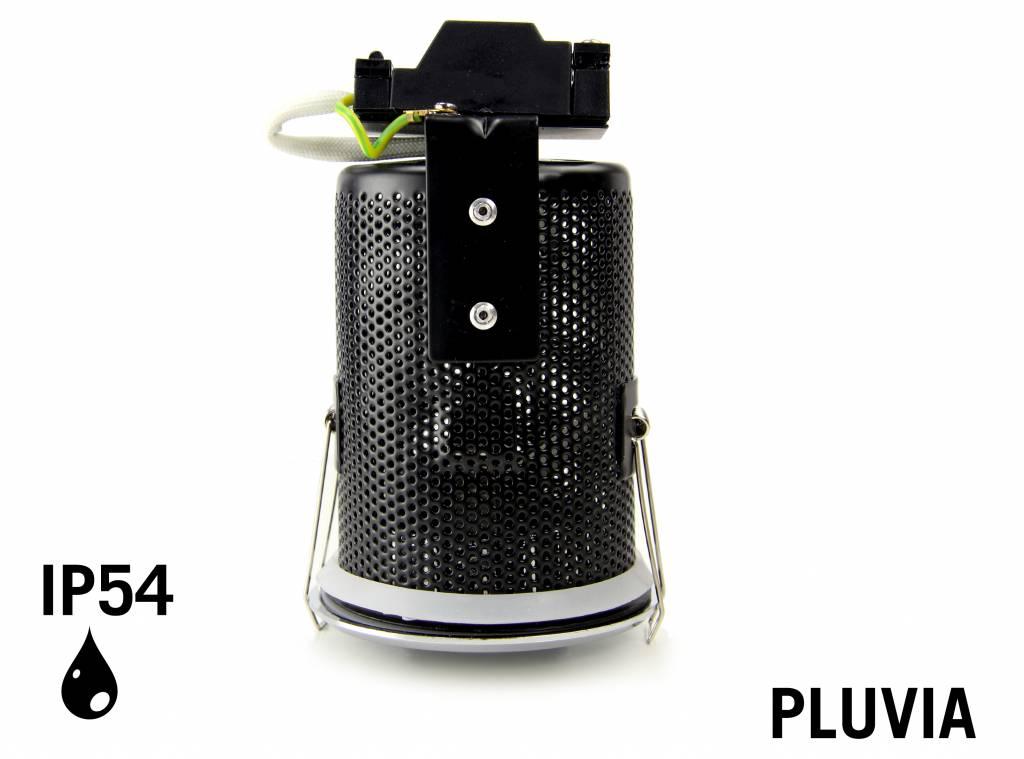 GU10 LED Inbouwspot Armatuur PLUVIA. IP54 Spatwaterdicht. Mat Wit. Rond Ø85mm