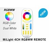 Mi·Light Mi-Light Set 9W Dimbaar RGBWW Kleur + Dual White LED Inbouwspot 220V + Afstandbediening. Spatwaterdicht IP65. 30° Kantelbaar. Satijn Wit. Rond Ø135mm