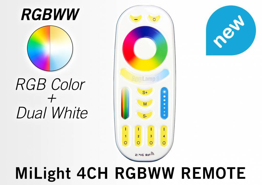 Mi·Light RGB kleur + Dual White 9 Watt LED Mi-Light kantelbare LED inbouwspots, complete 220V sets met remote *Nieuw*