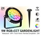LED Tuinspot 9 Watt RGB kleur + Dual White - IP65 - Aansluiten op 24Volt voeding