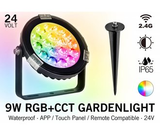 Mi·Light LED Tuinspot 9 Watt RGB kleur + Dual White - IP65 - Aansluiten op 24Volt voeding