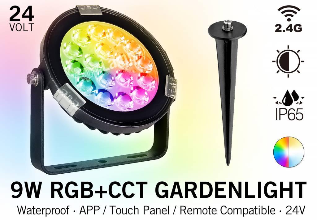 LED Tuinspot 9 Watt RGBWW kleur + Dual White - IP65 - Aansluiten op 24Volt voedi