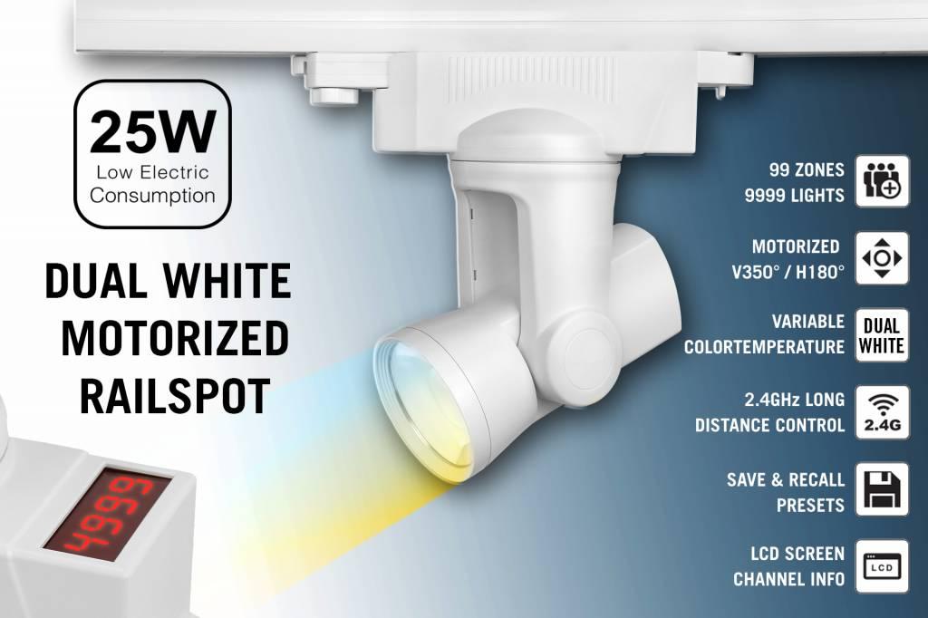 Alpha Lite 25W Dual White Rail Track Light 99 zones met 350� - 180� motorbediening