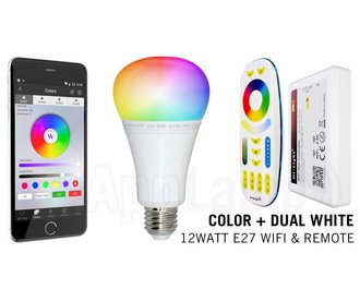 Mi·Light E27 RGB+Dual White 12 Watt Wi-Fi LED lampen. Complete set met Wifi Box en Remote!