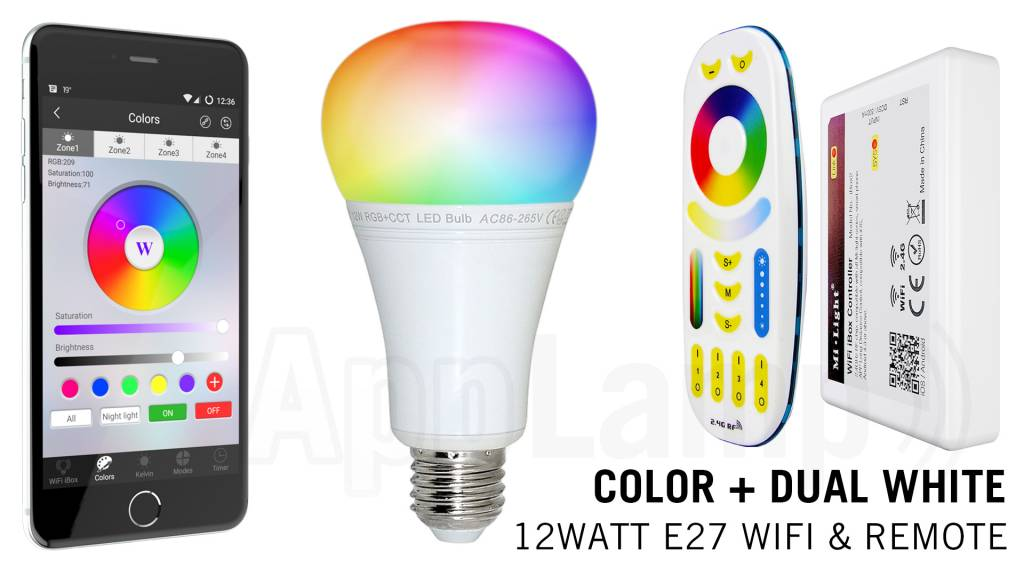 E27 RGB+Dual White 12 Watt Wi-Fi LED lampen. Complete set met Wifi Box en Remote
