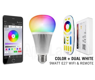 Mi·Light E27 RGB+Dual White 9 Watt Wi-Fi LED lampen. Complete set met Wifi Box en Remote!