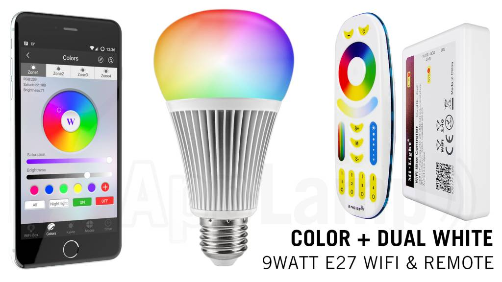 E27 RGB+Dual White 9 Watt Wi-Fi LED lampen. Complete set met Wifi Box en Remote!