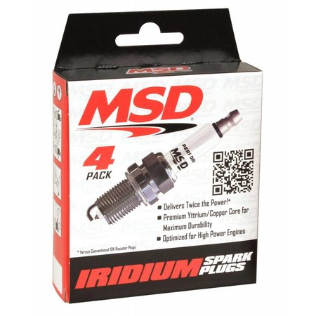 MSD ignition 5IR5Y Spark Plug, 4 Per Package