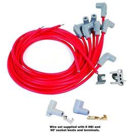MSD ignition Zündkabelsatz Universal V8 90° Plug, Socket/HEI Cap Super Conductor Rot