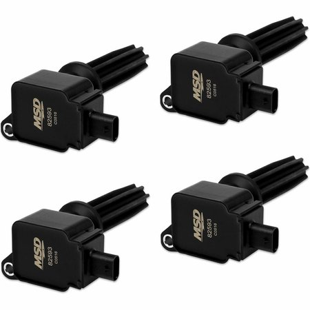 MSD ignition Coil,BLACK,Ford Eco-Boost2.0L/2.3L,4-Pk