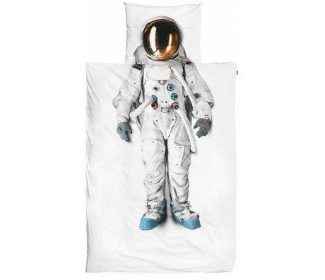 Snurk Astronaut bomuldslinned, hvid 140x220cm