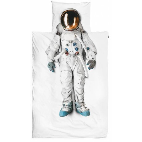 Snurk Beddengoed Astronot pamuklu çarşaflar, beyaz, 140x220cm