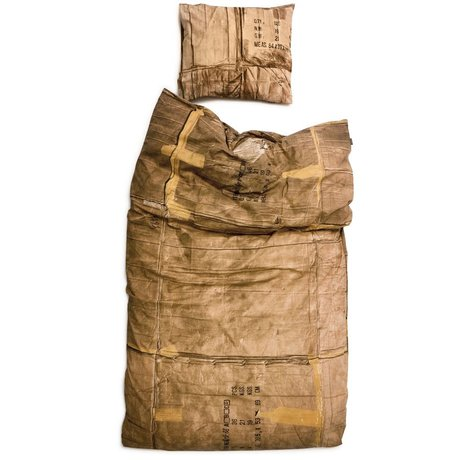 Snurk Beddengoed Linen karton, brun / creme, som fås i 3 størrelser