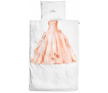 Snurk Beddengoed Prinsesse sengetøj, hvid / pink, 140x220cm