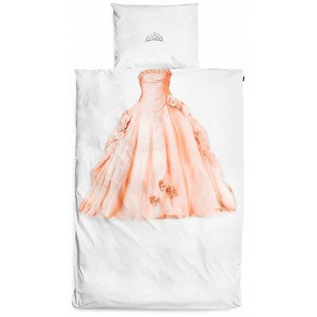 Snurk Princess linens, white / pink, 140x220cm