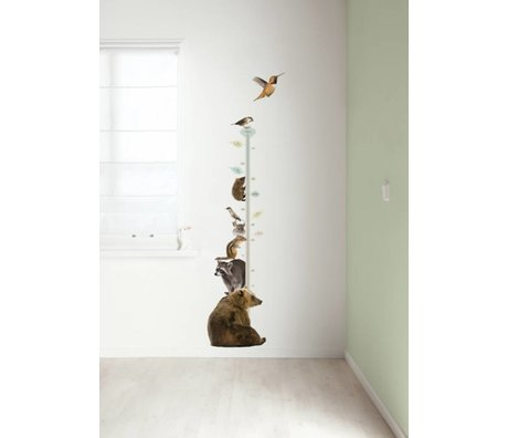 Kek Amsterdam Stickers muraux / Yardstick Forest Friends set 2, multicolore, 40x150cm