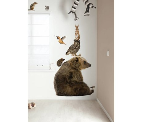 Kek Amsterdam Wall Decal XL Bear Set Forest Friends, multicolour, 95x100cm