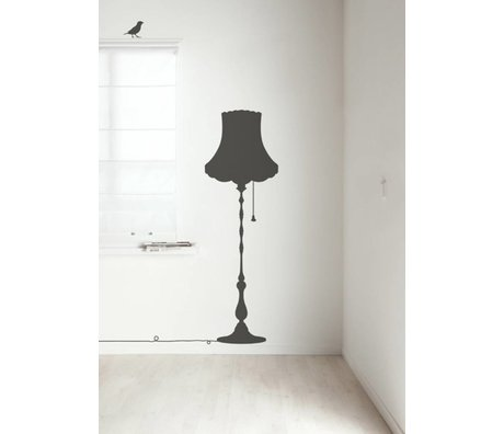 Kek Amsterdam Wall Decal Vintage Furniture Lamp, dark gray, 50x155cm