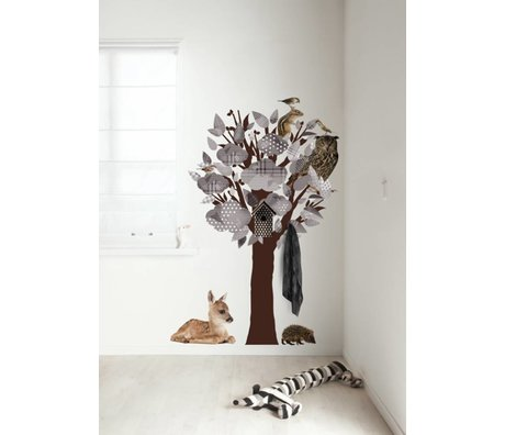 Kek Amsterdam Wandtattoo/Garderobe Forest Friends Tree, grau, 95x150cm