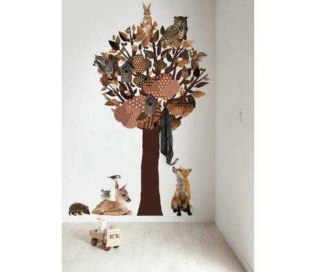 Kek Amsterdam Wallstickers / garderobe Forest Friends Tree XL, brun, 120x220cm