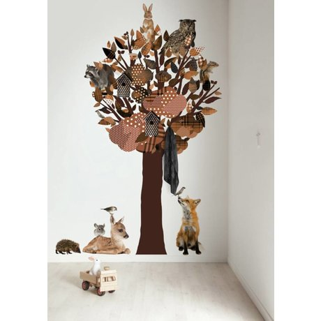 Kek Amsterdam Wall Decal / wardrobe Forest Friends Tree XL, brown, 120x220cm
