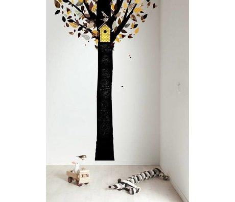 Kek Amsterdam Chalkboard foil tree, black / yellow, 185x260cm