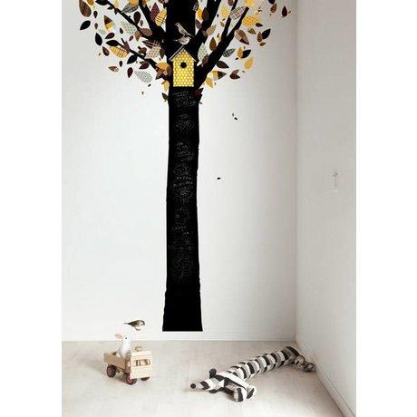 Kek Amsterdam Kara tahta folyo ağaç, sarı / siyah, 185x260cm