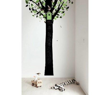 Kek Amsterdam Lavagna albero foglio, nero / verde, 185x260cm