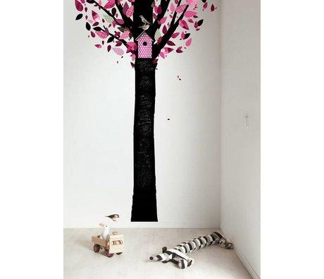 Kek Amsterdam Pizarra árbol de papel de aluminio, negro / rosa, 185x260cm