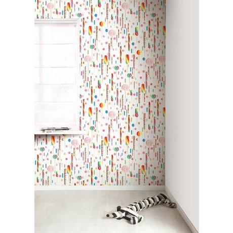 Kek Amsterdam Lolly tapet, mangefarvede / hvid, 8,3 MX47, 5cm, 4m ²
