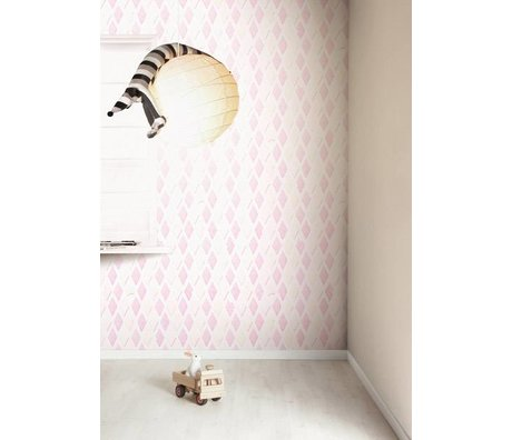 Kek Amsterdam Wallpaper bacon slik, pink / hvid, 8,3 MX47, 5cm, 4m ²