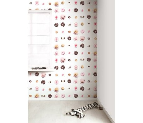 Kek Amsterdam Tapet kager, pink / hvid / brun, 8.3 MX47, 5cm, 4m ²