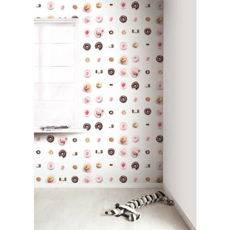 Kek Amsterdam Tortas Wallpaper, rosa / blanco / marrón, 8,3 MX47, 5cm, 4m ²