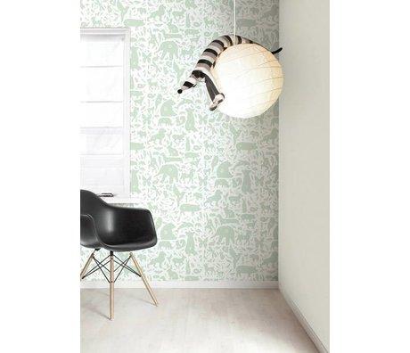 Kek Amsterdam Alphabet des animaux papier peint, vert / blanc, 8,3 MX47, 5cm, 4m ²