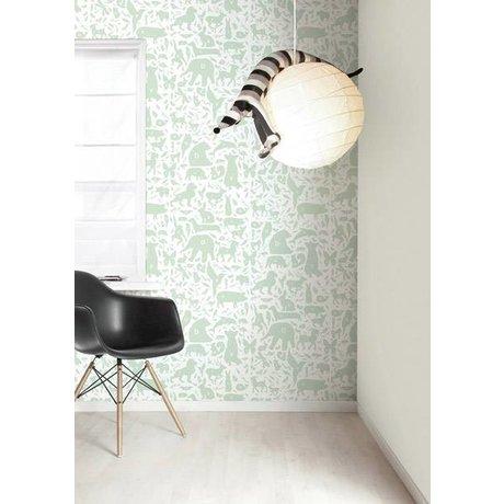 Kek Amsterdam Alfabe hayvanlar duvar kağıdı, yeşil / beyaz, 8.3 MX47, 5cm, 4m ²
