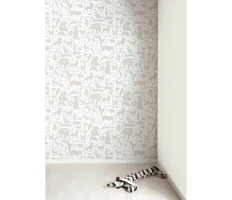 Kek Amsterdam Alphabet dyr tapet, grå / hvid, 8,3 MX47, 5cm, 4m ²