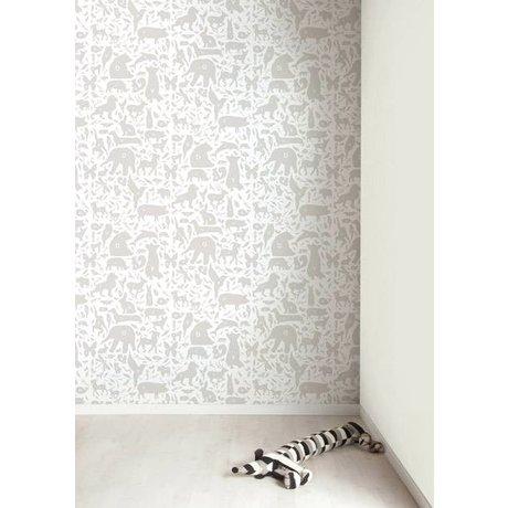 Kek Amsterdam Alphabet des animaux papier peint, gris / blanc, 8,3 MX47, 5cm, 4m ²