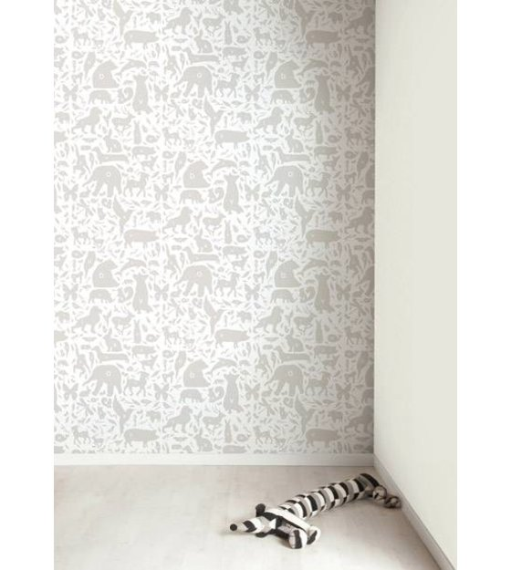 Kek Amsterdam Tapete Alphabet Tierchen Grau Weiss 8 3mx47 5cm 4m