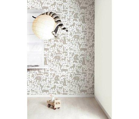 Kek Amsterdam Alfabeto animali da parati, tortora / bianco, 8.3 MX47, 5cm, 4m ²
